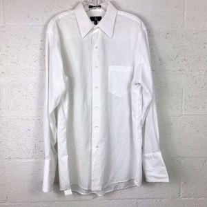 CK Calvin Klein Mens White Dress Shirt French Cuff